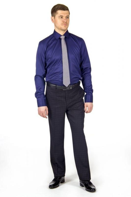 сорочка притал стрейч т.синяя однотон