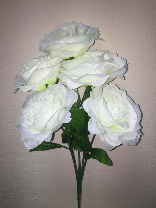 букет Роза Крымская малая белый  h - 41 cm, 5 голов шёлк ( в сборе )
