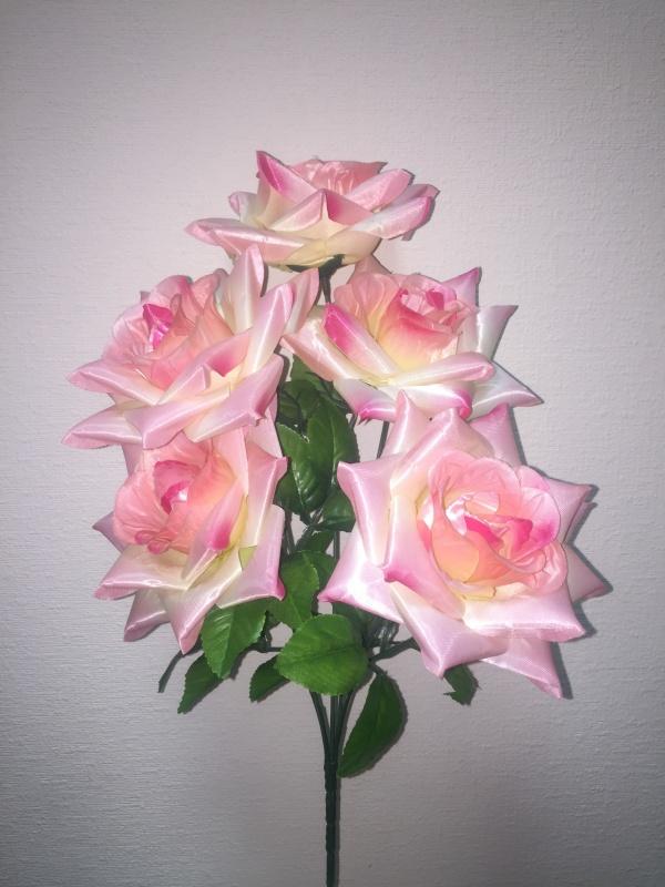 букет Роза игольчатая атлас розовый  h - 42 cm, 5 голов ( в сборе )