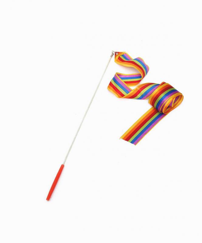 Лента для художественной гимнастики RGR-201, 4 м, с палочкой, радуга