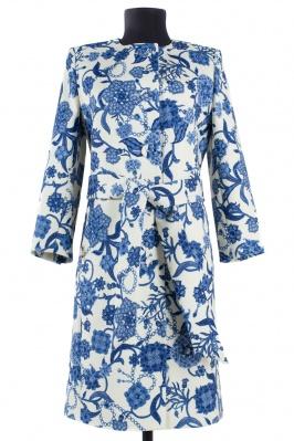 01-5205 Пальто женское демисезонное (пояс) Кашемир Молочный