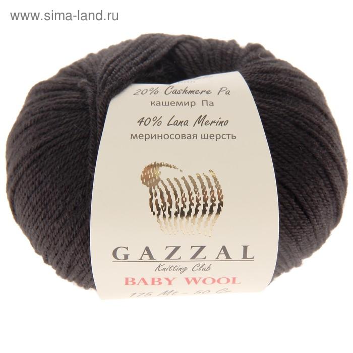 """Пряжа \""""Baby Wool\"""" 20% кашемир, 40% меринос. шерсть, 40% акрил 175м/50гр (803 черный)"""