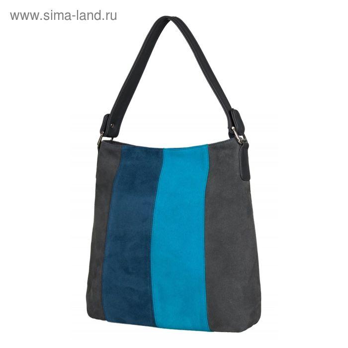 Сумка женская 1-3686-168с, 33*8*33, отд на молнии, н/карман, регул ремень, серо-сине-голубой 19984