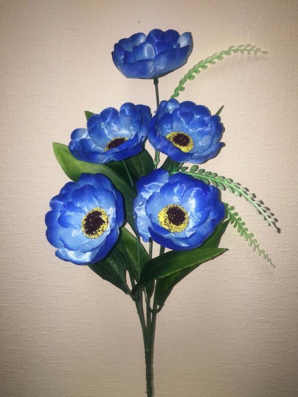 букет Анемона синий  h - 38 cm, 5 голов атлас, добавка пластик ( в сборе )