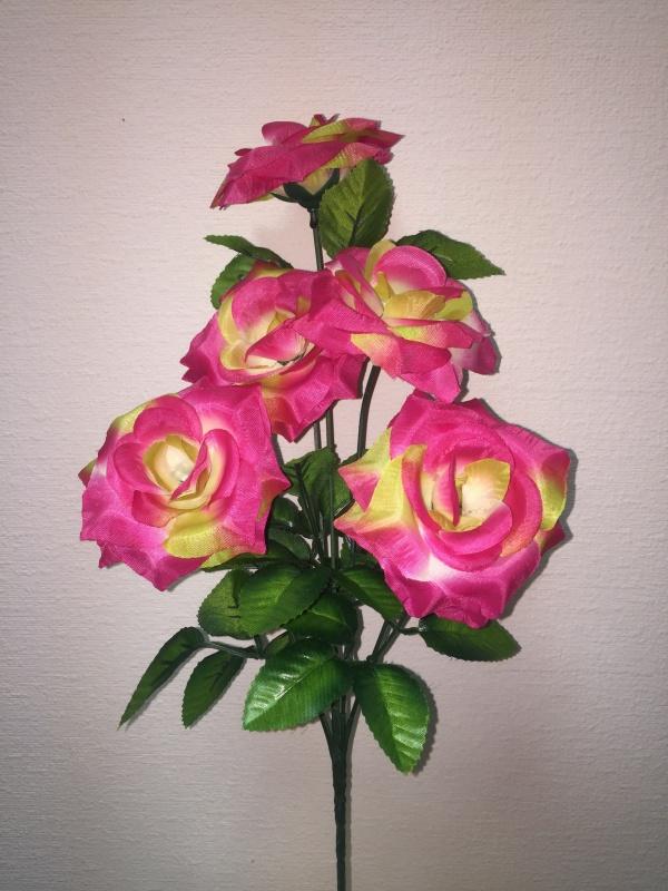 букет Роза Игольчатая жёлто-малиновый  h - 40 cm, 5 голов ( в сборе )