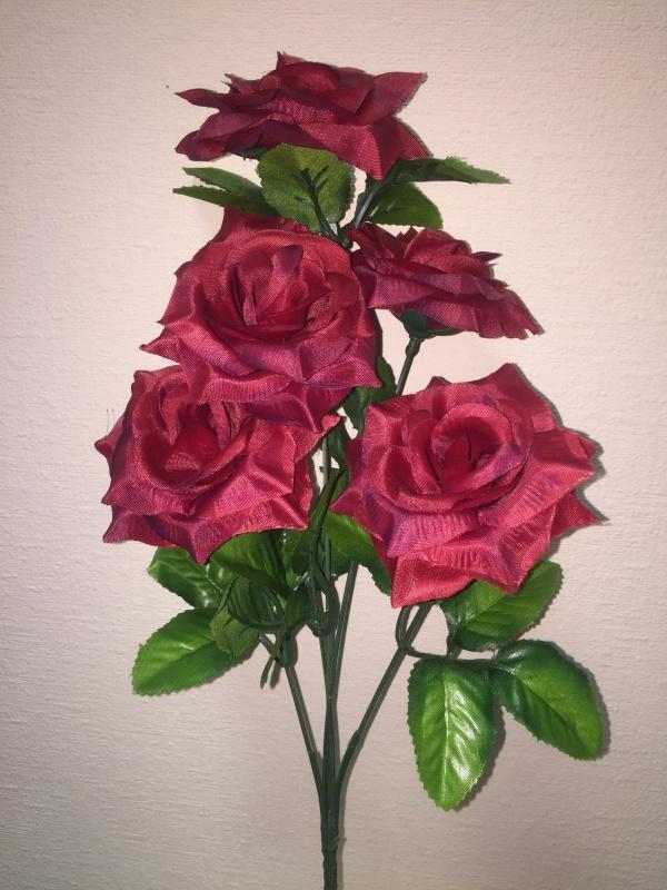 букет Роза Игольчатая бордовый  h - 40 cm, 5 голов ( в сборе )