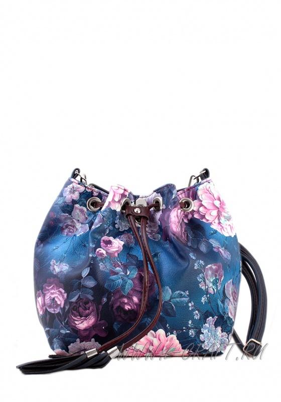 Модель №1290 | кожзам | гладкий цветы | синий цветной | Р770-6 | 20055
