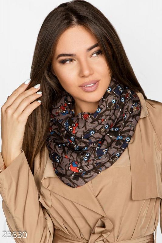 """Стильный шарф-снуд из мягкой ангоры с цветным принтом """"Совы"""""""