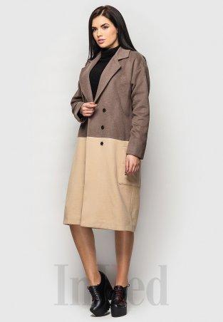 "InRed: Пальто \""SANDRA\"" бежево-коричневое Артикул: 206"
