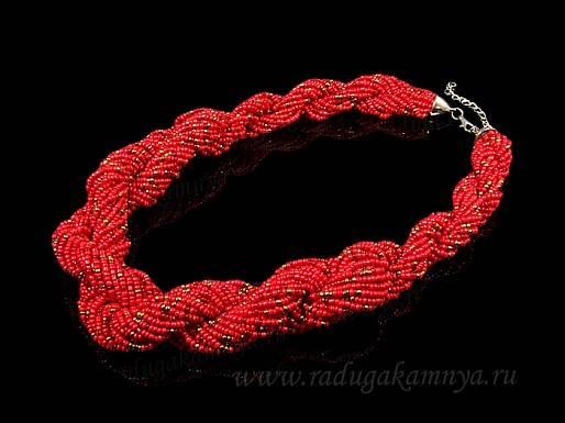 Колье из бисера плетение жгут цв.красный, 54см
