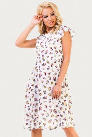 Платье 2560.84 белое с совами 2560.84: V&V