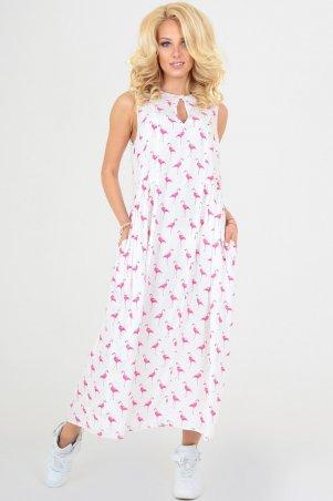 Платье 2540 белое с розовым 2540.84: V&V