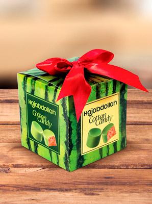 Конфеты из пашмалы со вкусом арбуза во фруктовой глазури в подарочной упаковке с бантом 300 г