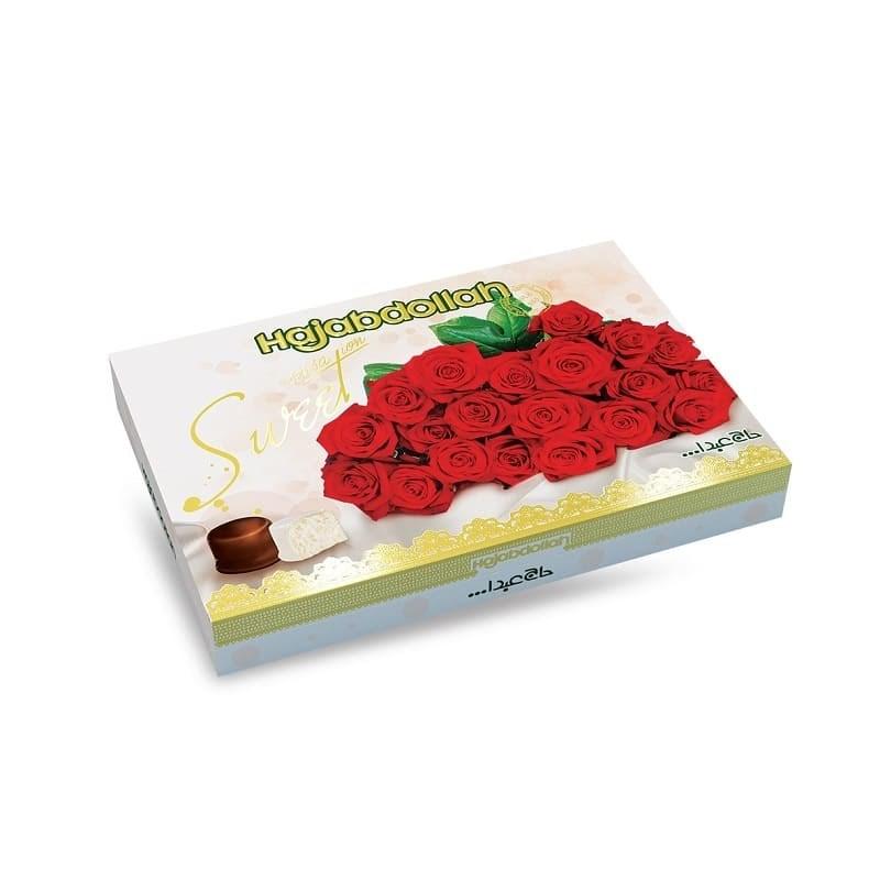 """Конфеты из пашмалы ассорти с молочным вкусом в белой глазури и вкусом ванили, кофе и имбиря в шоколадной глазури в подарочной упаковке \""""Роза\"""" красная 300 г"""