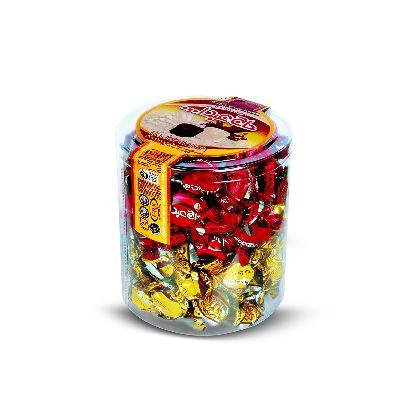 """Конфеты из пашмалы ассорти с молочным вкусом в белой глазури и вкусом ванили в шоколадной глазури в подарочной пластиковой круглой упаковке \""""Hajabdollah\"""" 1 кг"""