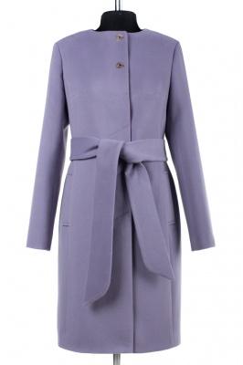 01-6710 Пальто женское демисезонное (пояс) Кашемир Лиловый