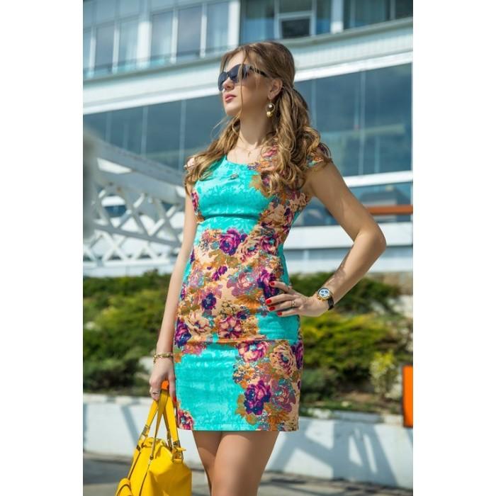 Платье бирюзовое - 7247