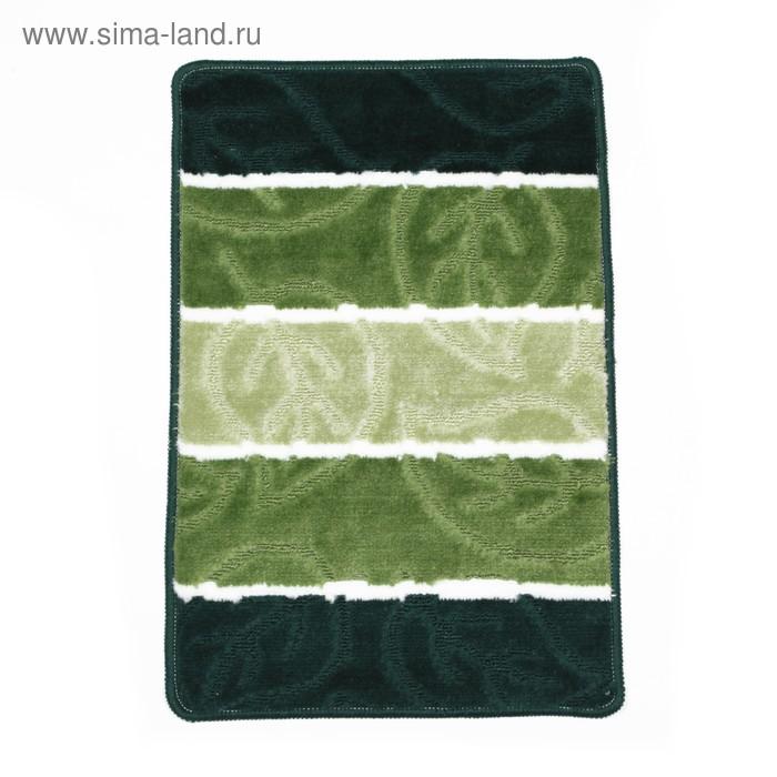 """Коврик для ванной \""""Листья\"""" 40х60 см, цвет зелёный"""