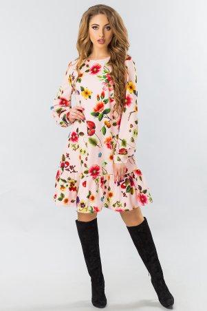 Платье С Длинным Рукавом И Оборкой Цветы На Розовом 300349