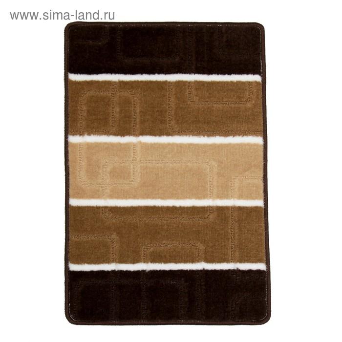 """Коврик для ванной """"Квадраты"""" 40х60 см, цвет коричневый"""