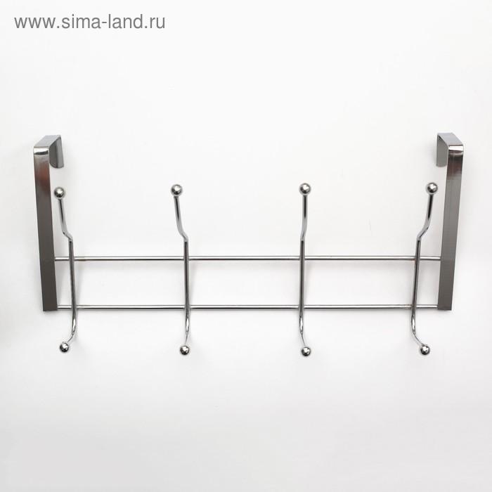 Вешалка надверная,4 двойных крючка 30х10х16 см, серебро (ширина двери 5 см)