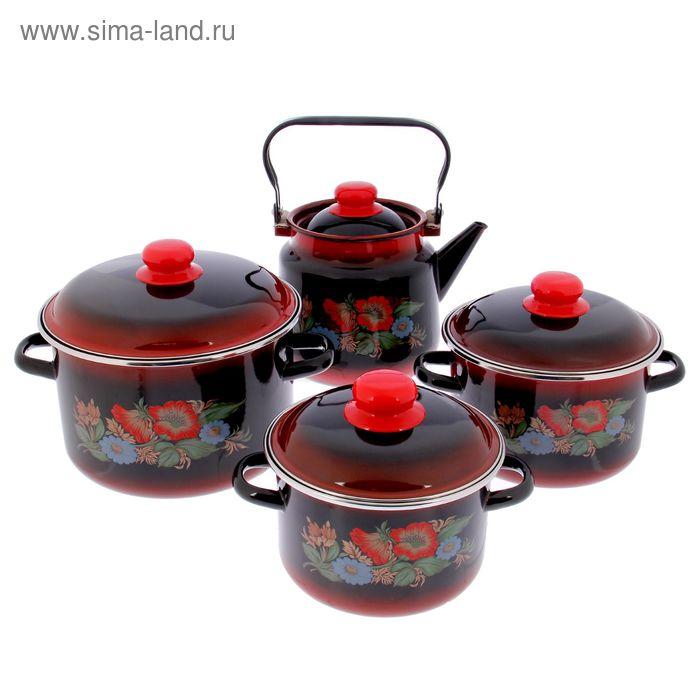 """Набор посуды """"Шиповник"""", 4 предмета: кастрюли 2 л; 3 л; 5,5 л, чайник 3,5 л"""