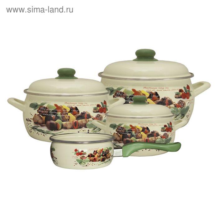 Набор посуды 7 предметов (2,2л, 4л, 5,3л, ковш 1,3л), с металлическими крышками Пикник