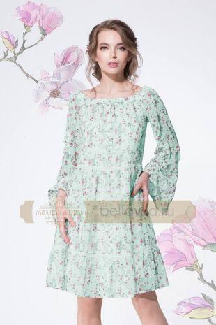 Платье Lenata 11886 мята+мелкие цветы