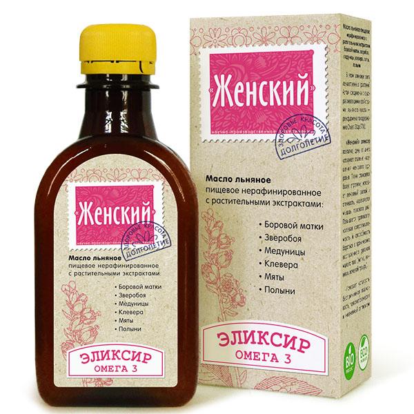 """Эликсир """"Женский"""" - масло льняное с экстрактами боровой матки, зверобоя, медуницы, клевера, мяты и полыни 0,2 л"""