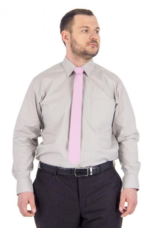 2.02-29080 сорочка полуприт серая узор средн длин