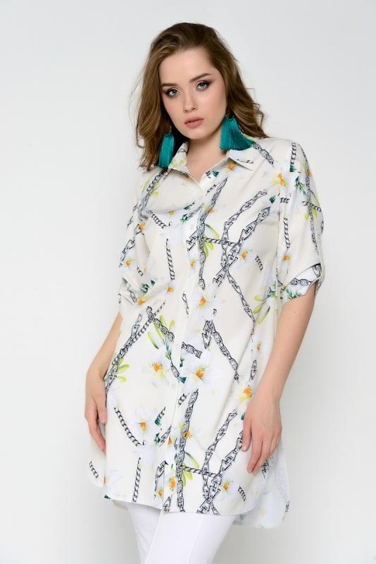"""Рубашка \""""Леона\"""" (цепи, белая)"""