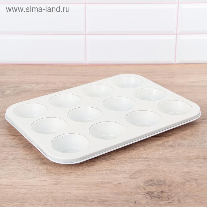 """Форма для выпечки с керамическим покрытием \""""Флёри. Круг\"""" 12 ячеек 35х27х3 см"""