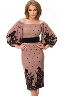 Роскошное платье в горошек с открытыми плечами