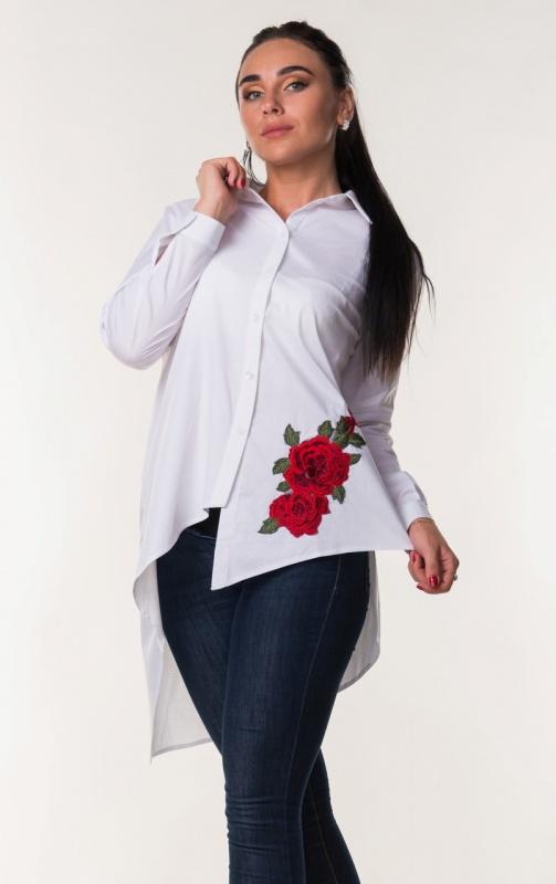 Женская блуза асимметрия с красным цветком 694: Zanna Brend