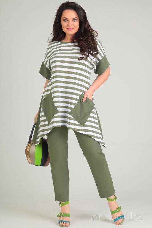 Комплект Andrea style 0071 с оливковыми брюками
