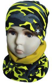 вм1144-39 Комплект шапка-снуд камуфляж неоново-лимонный
