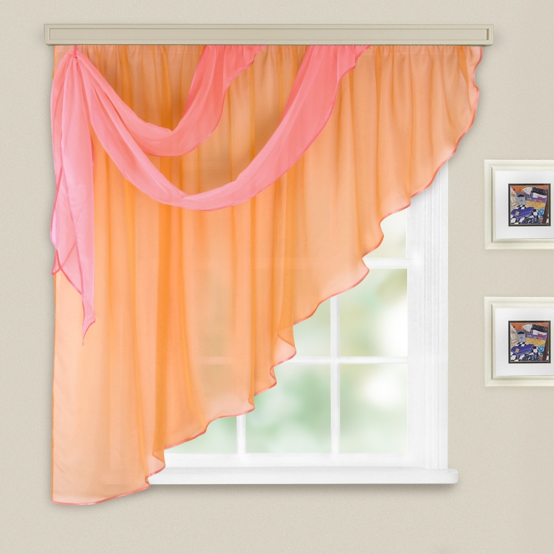 Комплект штор для кухни Азалия персик левая
