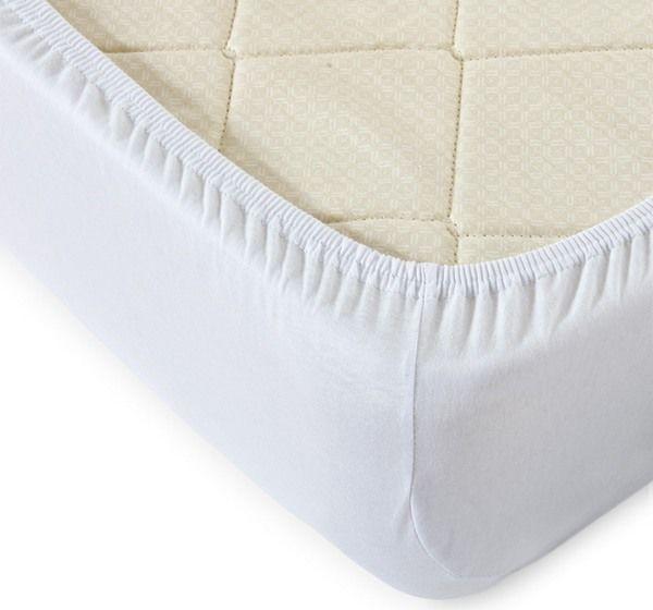 Трикотажная простыня на резинке (белая) 90*200 см