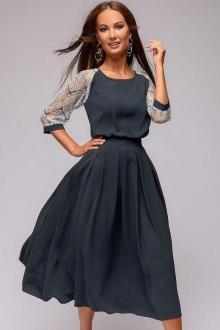 Серое платье длины миди