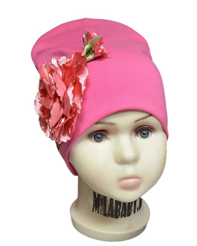 вд1326-69-Шапка трикотажная двойная Атласные розы ярко-розовая