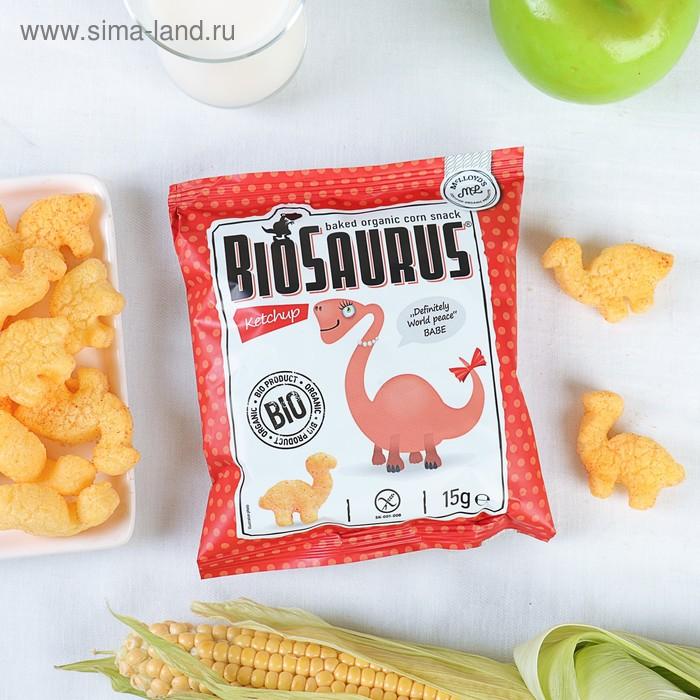Органические кукурузные снеки Биозаурус, с кетчупом, 15 гр.