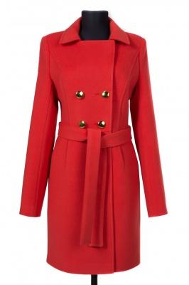01-4063 Пальто женское демисезонное (пояс) Кашемир Коралл