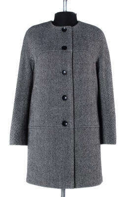 01-4284 Пальто женское демисезонное Твид Серо-черный
