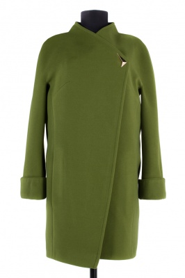 01-4418 Пальто женское демисезонное Кашемир Зеленый