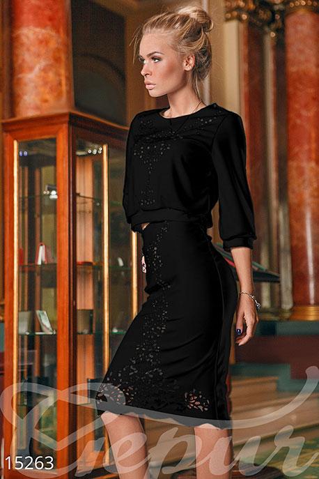 Черный костюм кофта/юбка Подробнее: https://gepur.ru/product/kostyum-15263