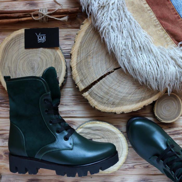 Ботинки зеленого цвета со шнуровкой на тракторной подошве Арт. 12-6(S2)