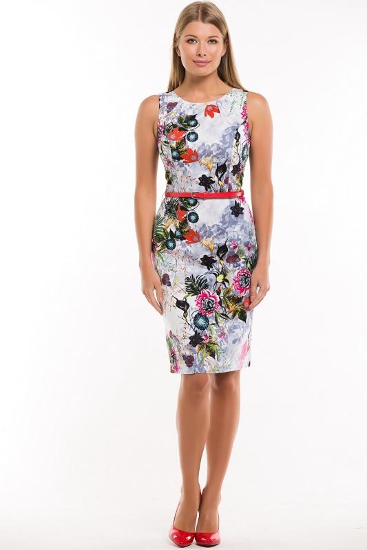 Платье с ремнем 7546