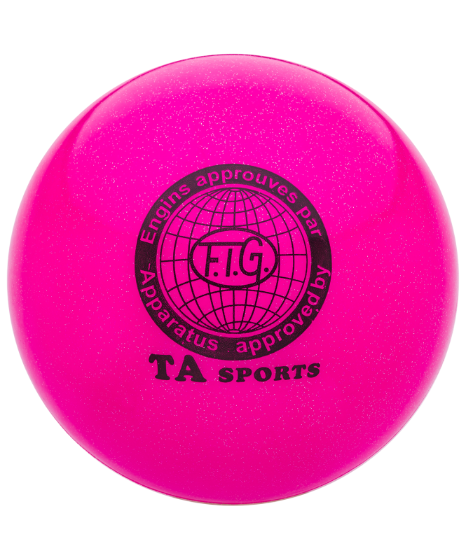 Мяч для художественной гимнастики RGB-102, 19 см, розовый, с блестками
