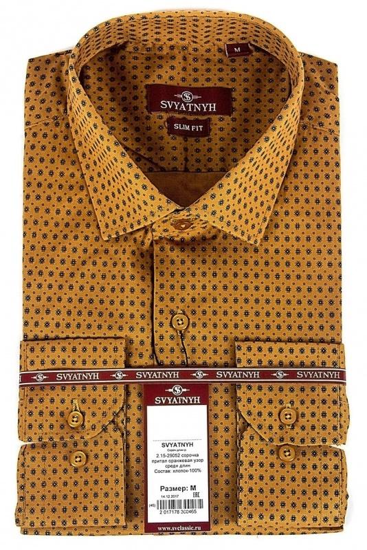 2.15-29052 сорочка притал оранжевая узор средн длин