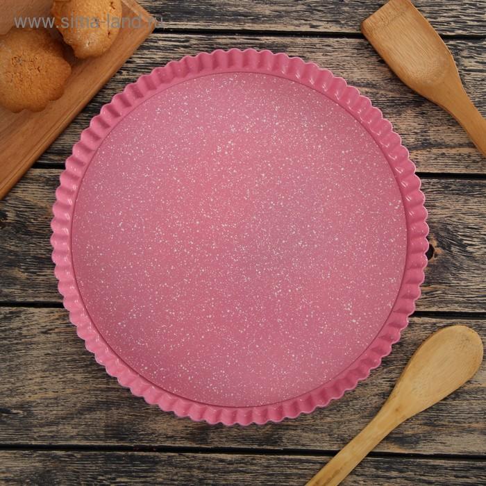 """Форма для выпечки 28 см """"Мраморный зефир. Рифленый круг"""", со съемным дном, антипригарное покрытие"""